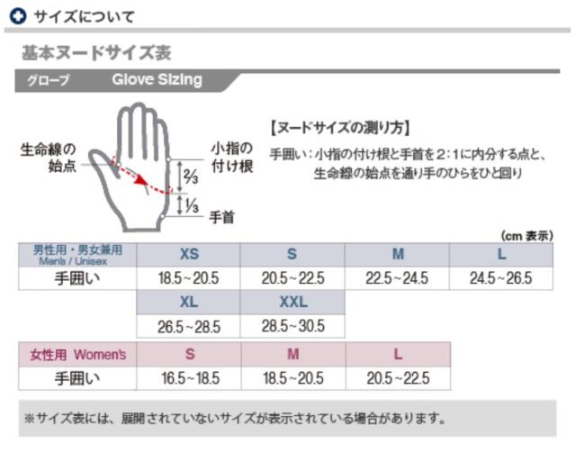 モンベルのグローブのサイズ表