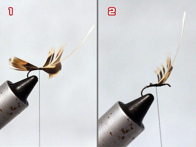 羽をハリに取り付ける